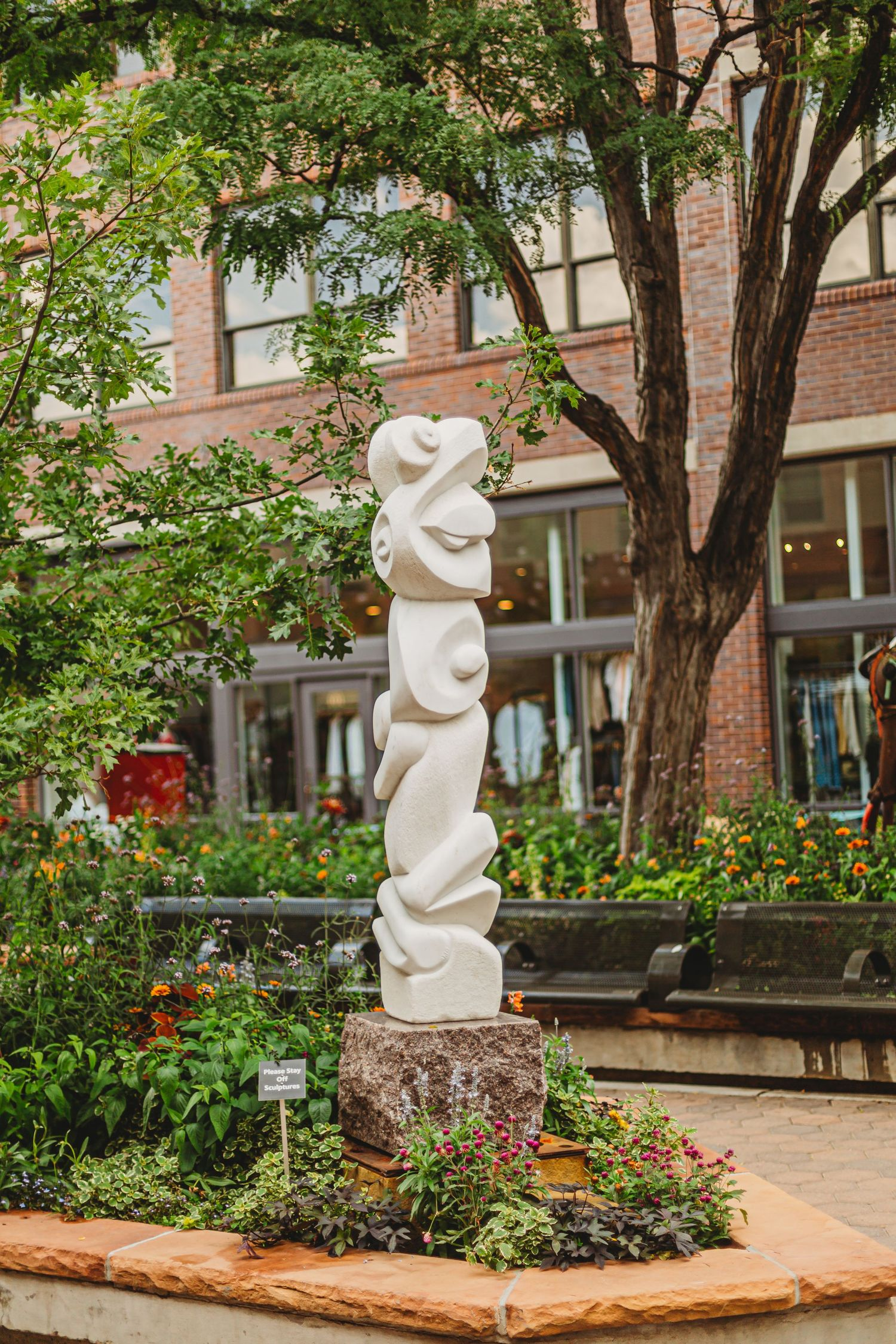 A sculpture in Old Town Square in Fort Collins, Colorado.