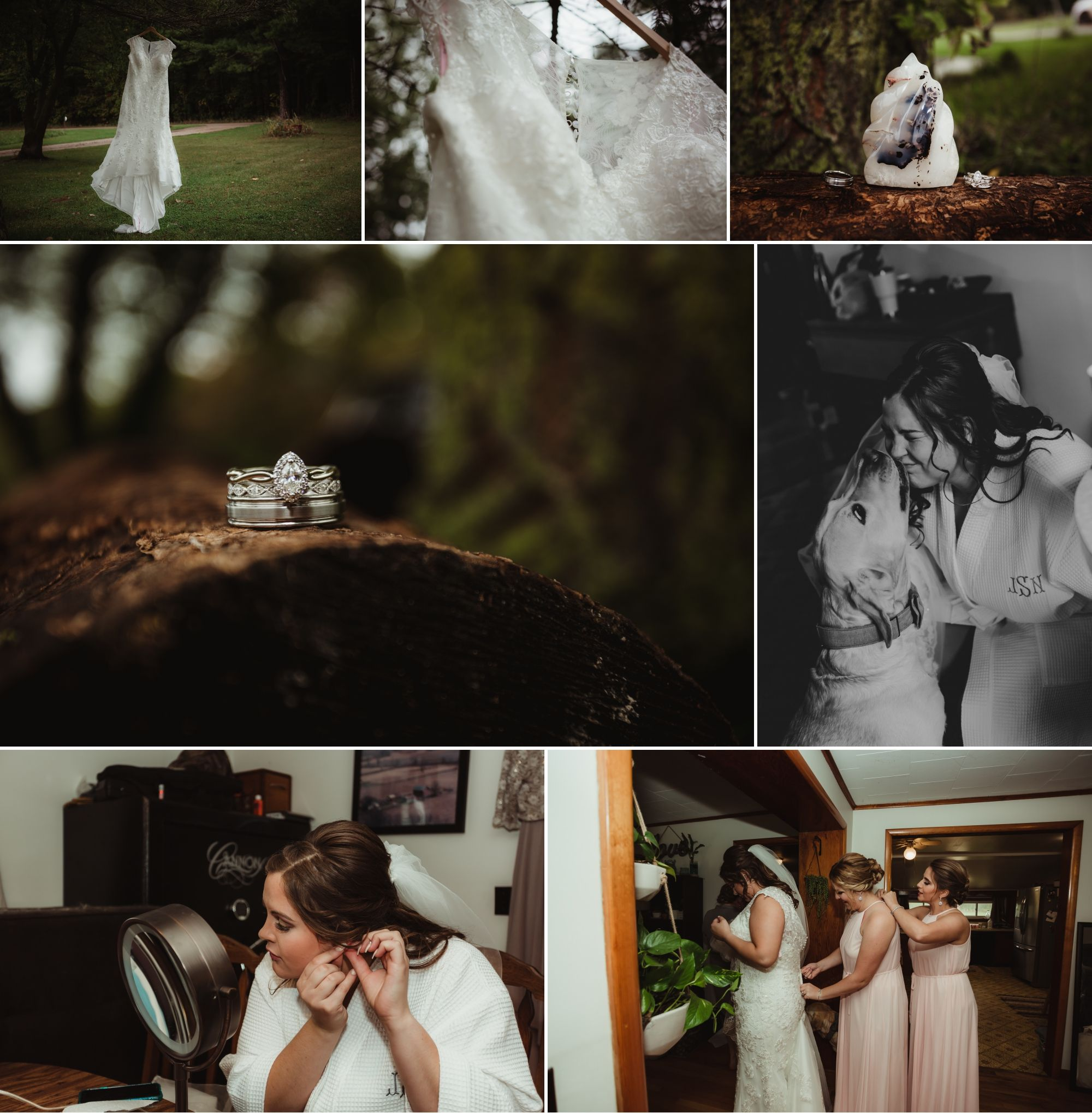 Collage of wedding gown, rings, and the bride getting ready. Her dog kisses her face in one.