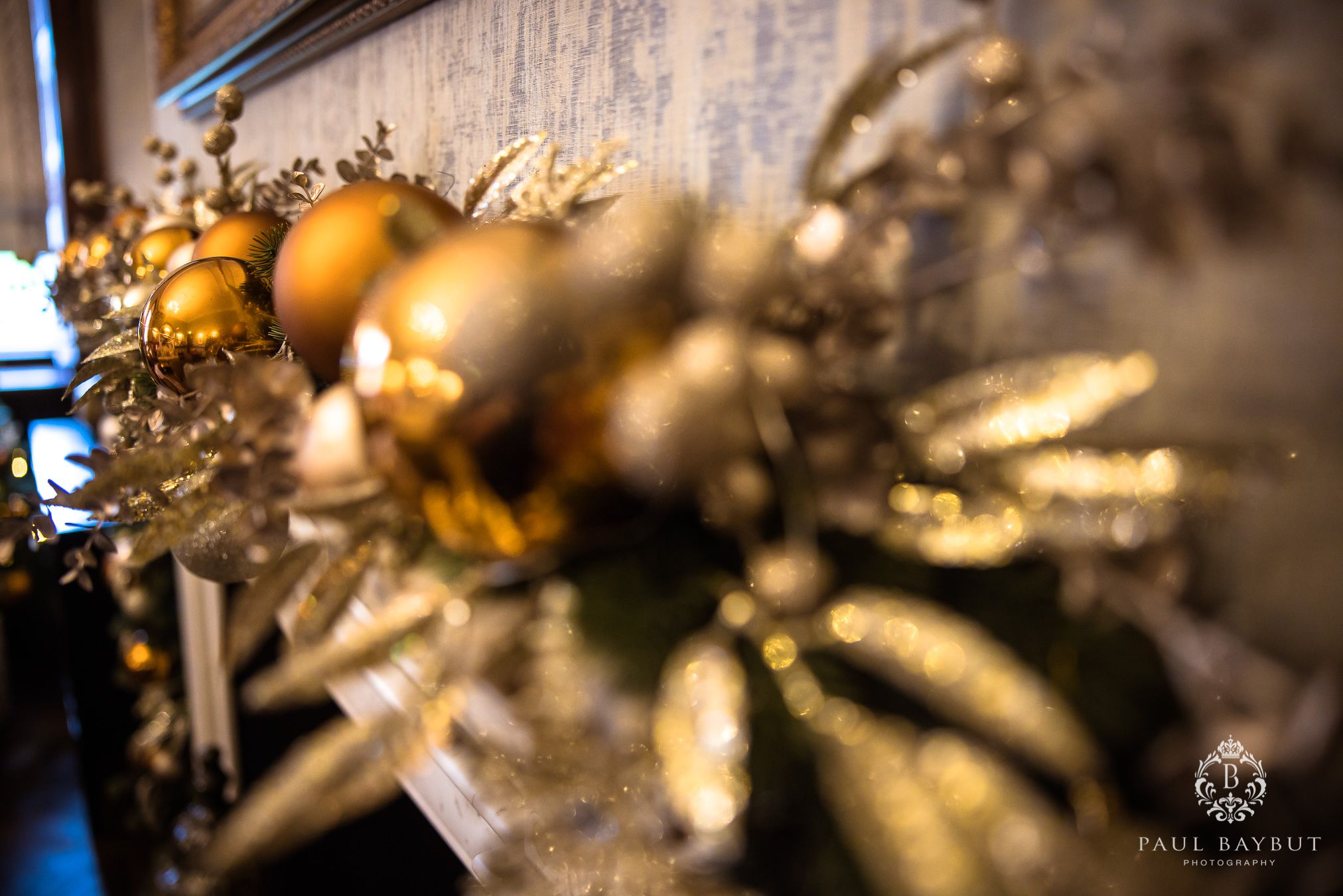 Christmas wedding decorations at Mottram Hall wedding
