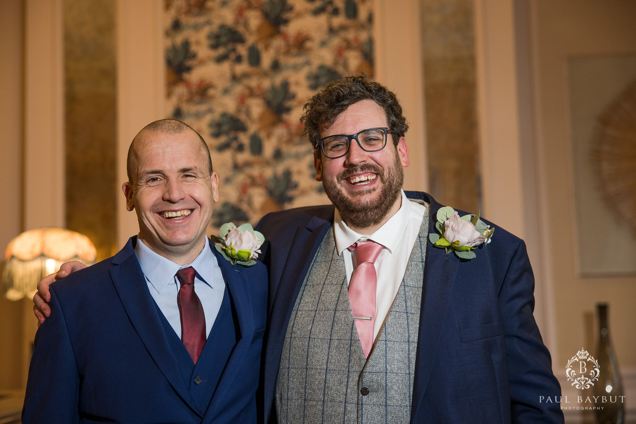 Groom and bestman Family wedding photos at Mottram Hall Winter wedding