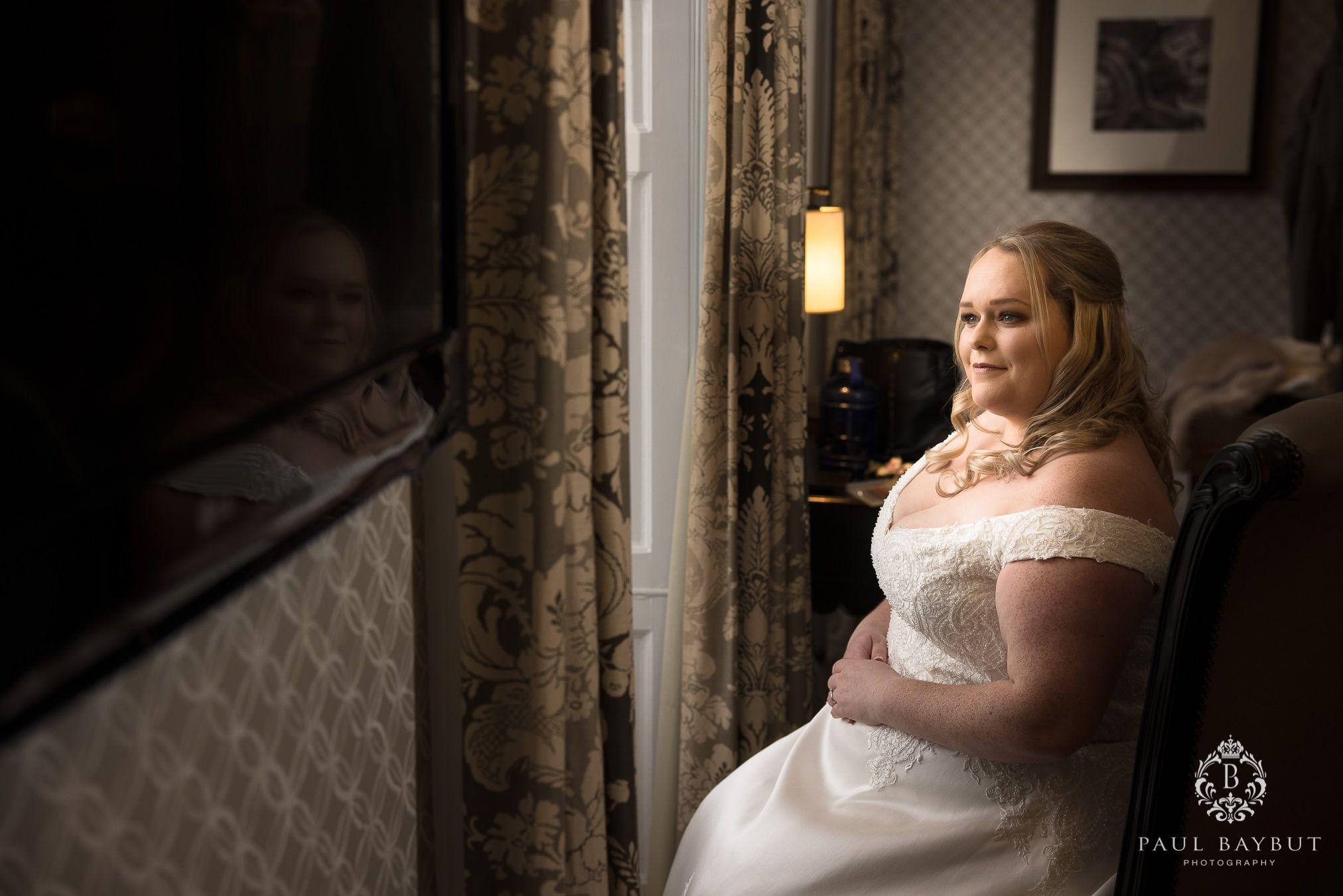 Manchester wedding photographer at Mottram Hall with bride at bridal prep