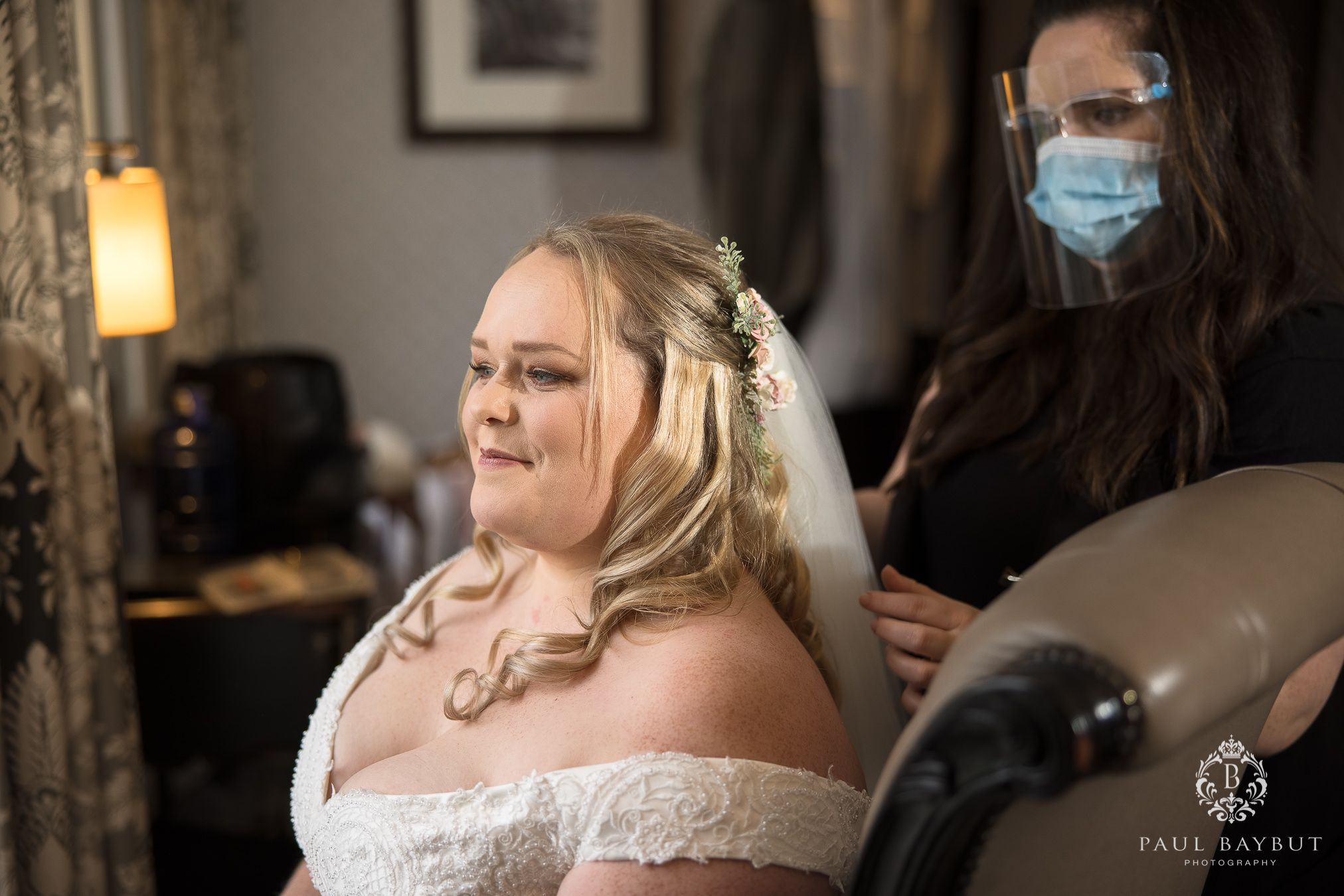 Winter bride at Mottram Hall during bridal prep