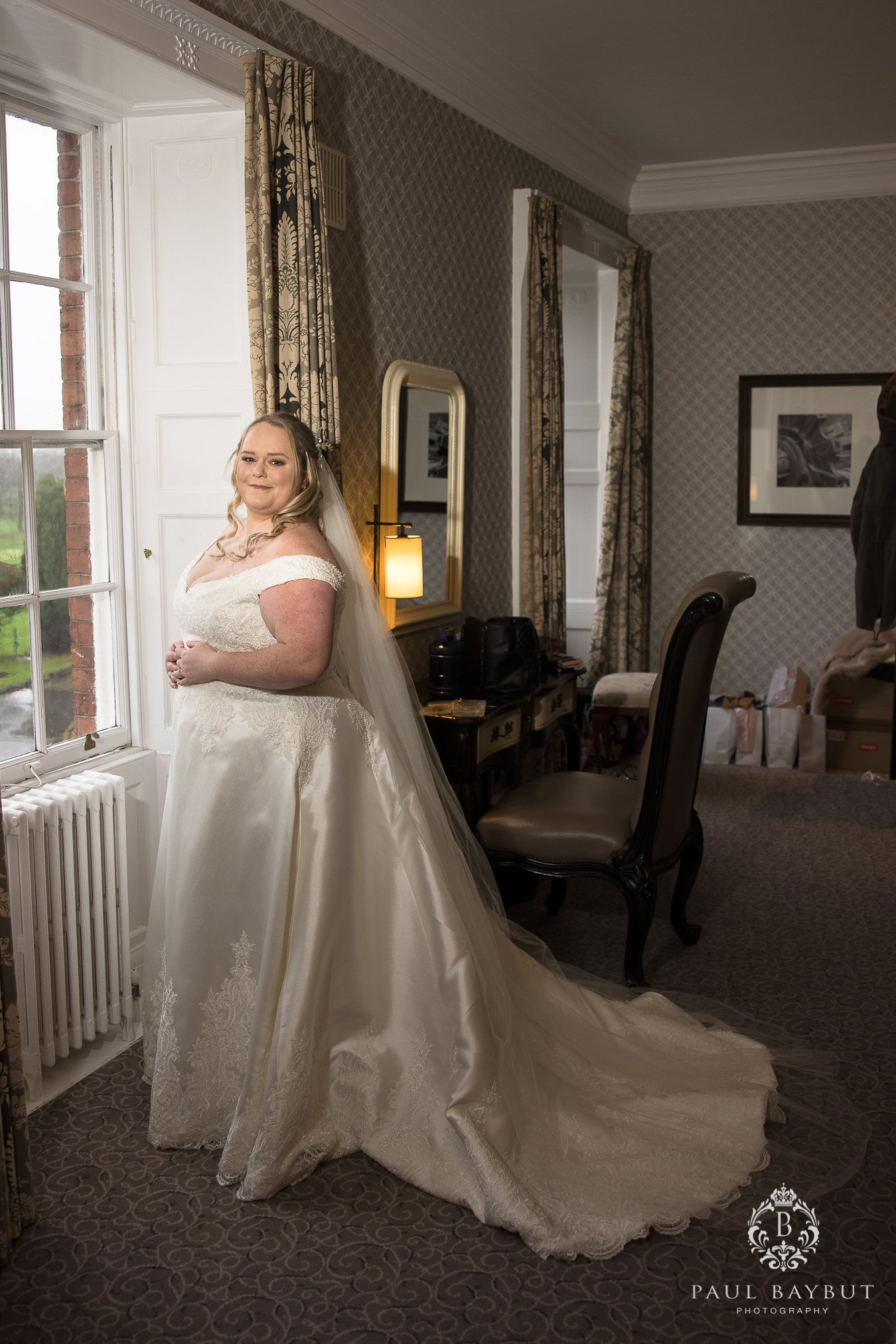 Cheshire bride in whire dress at Mottram Hall luxury Manchester wedding venue