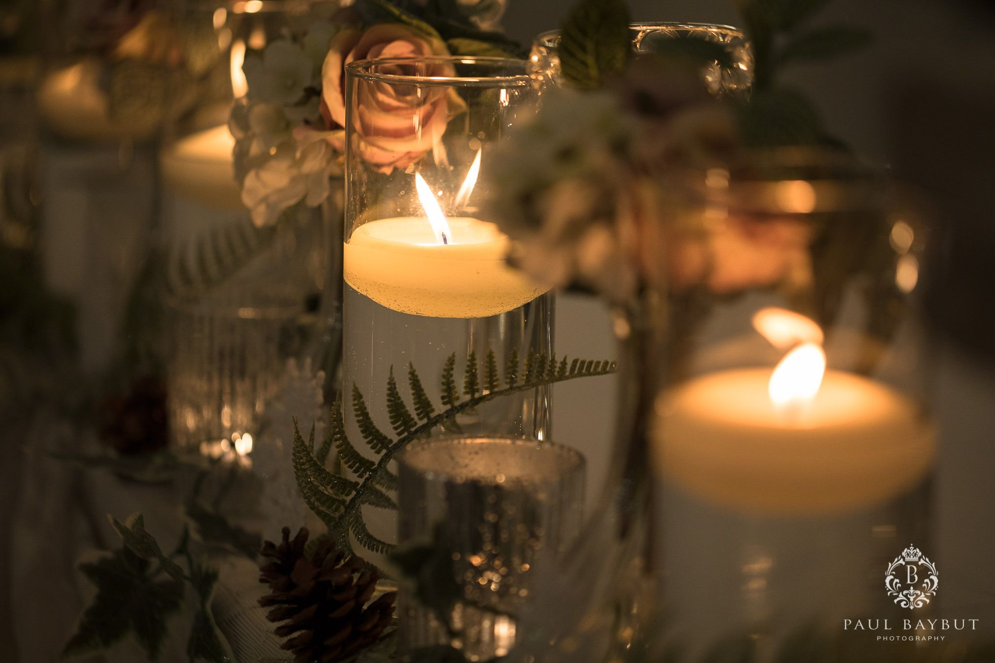 Festive ceremony wedding decor at Mottram Hall wedding venue in Cheshire