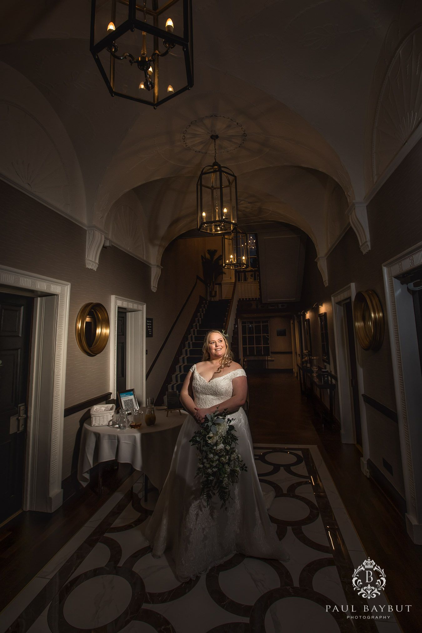 Recommended Mottram hall wedding photographer with bride in her white dress