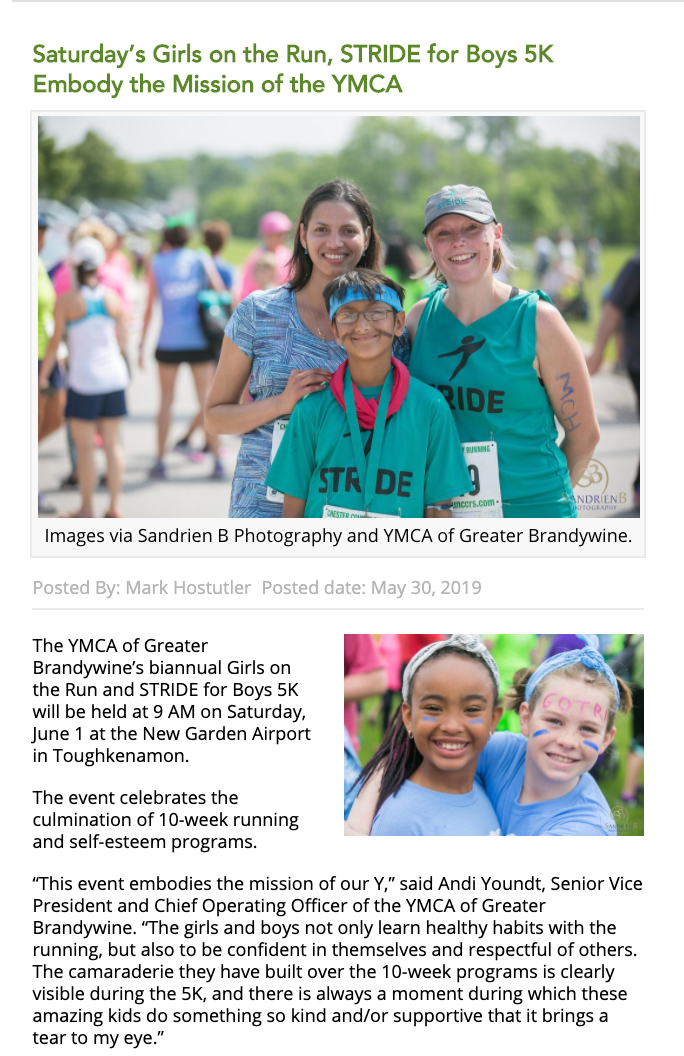 Girls on the run and Stride photos on website