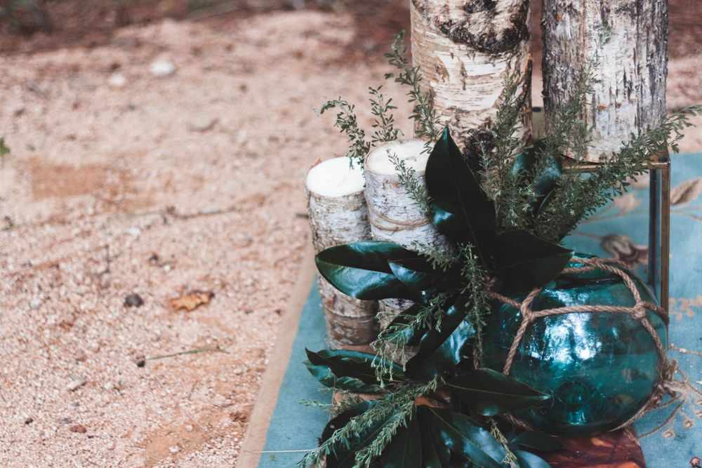 details of rustic wedding alter at the meadows wedding venue