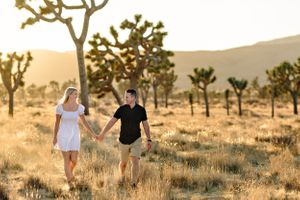 couple holding hands next to joshua trees