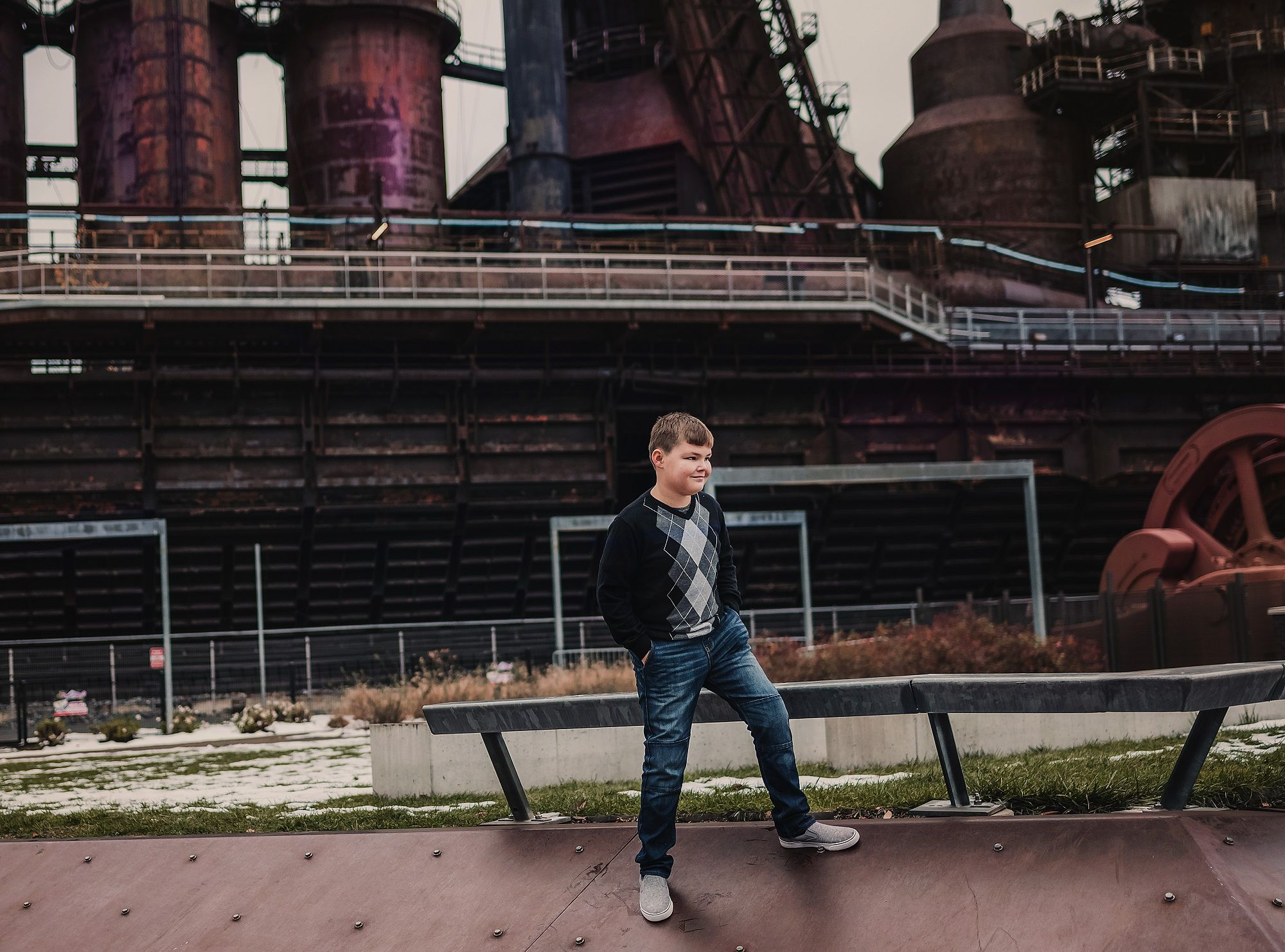 Boy at the steel stacks Allentown, PA