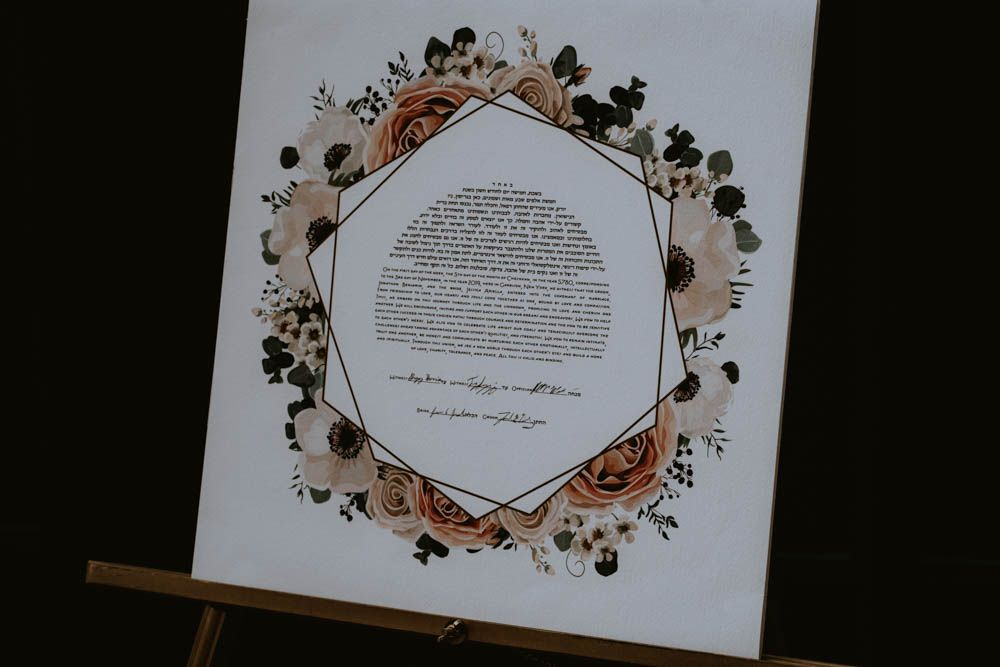 floral Ketubah for Jewish wedding during ceremony at The Highlands