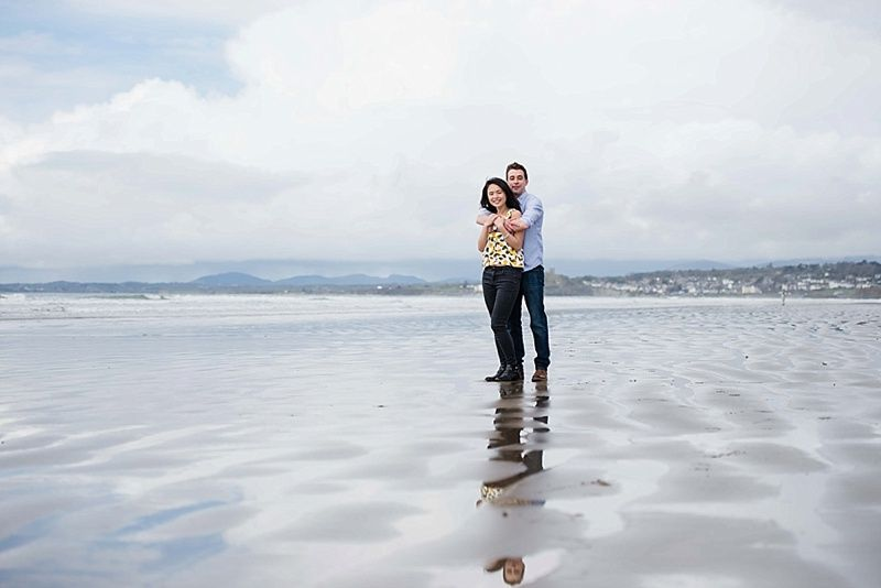 couple on black rock sands photoshoot