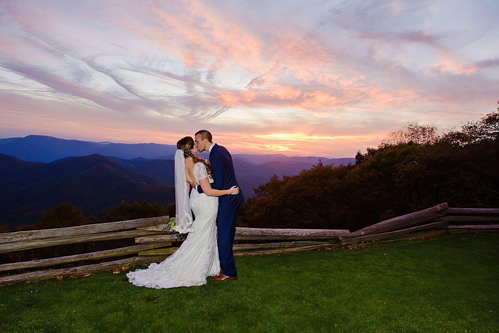 Sunset at Wintergreen Resort Destination Wedding