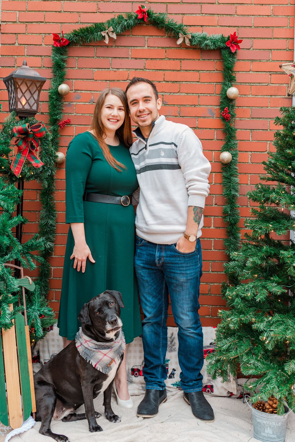 Holiday Christmas shoot with surprise proposal in Pittsburgh, Pennsylvania