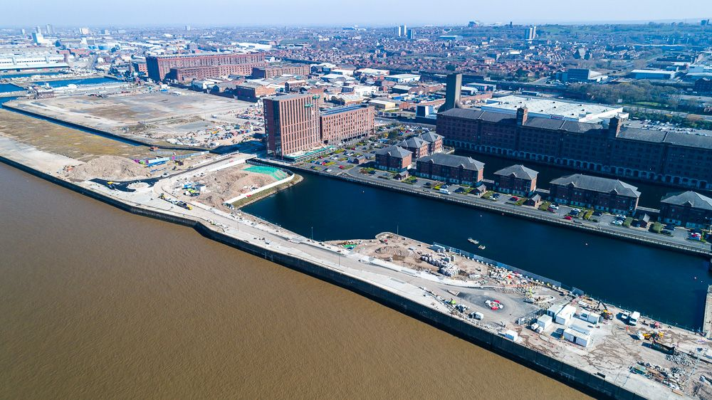 Liverpool Docks Drone photography construction progress photography civil engineering