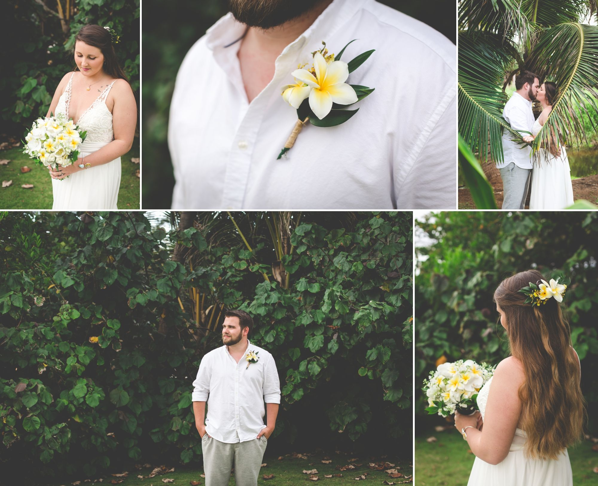 Collage of bride and groom portraits. Plumeria bouquet and boutonniere. Palm leaves form a heart around them.