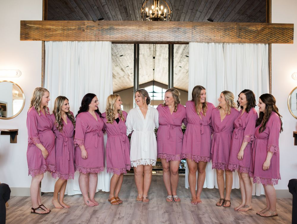 Bridesmaids in their robes at a Missouri Wedding in Eagle Bluff Ranch