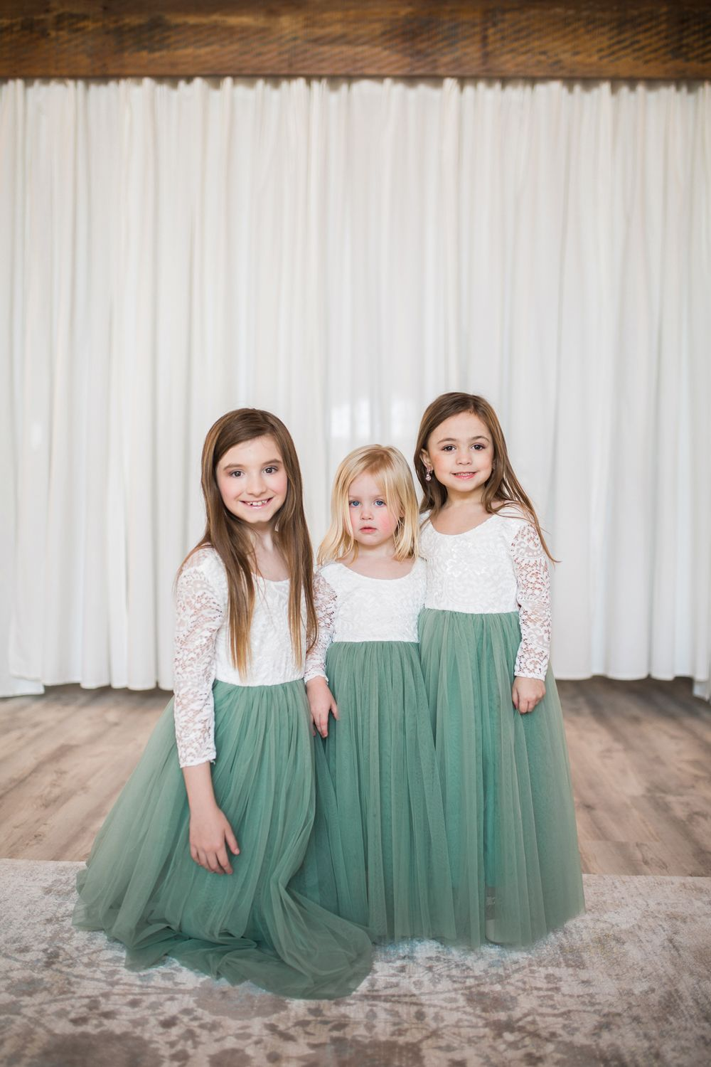 Flower girls with super cute dresses.  Bridal suite at Eagle Bluff Ranch in Waverly, MO.