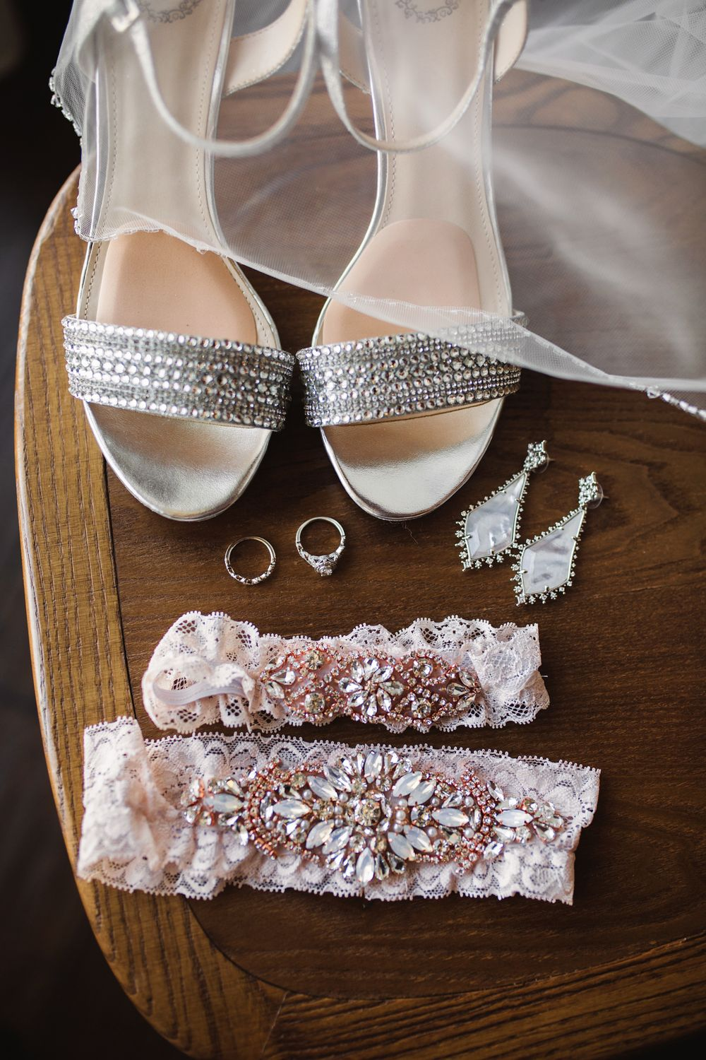 Missouri wedding day details.  Bridal shoes with garter