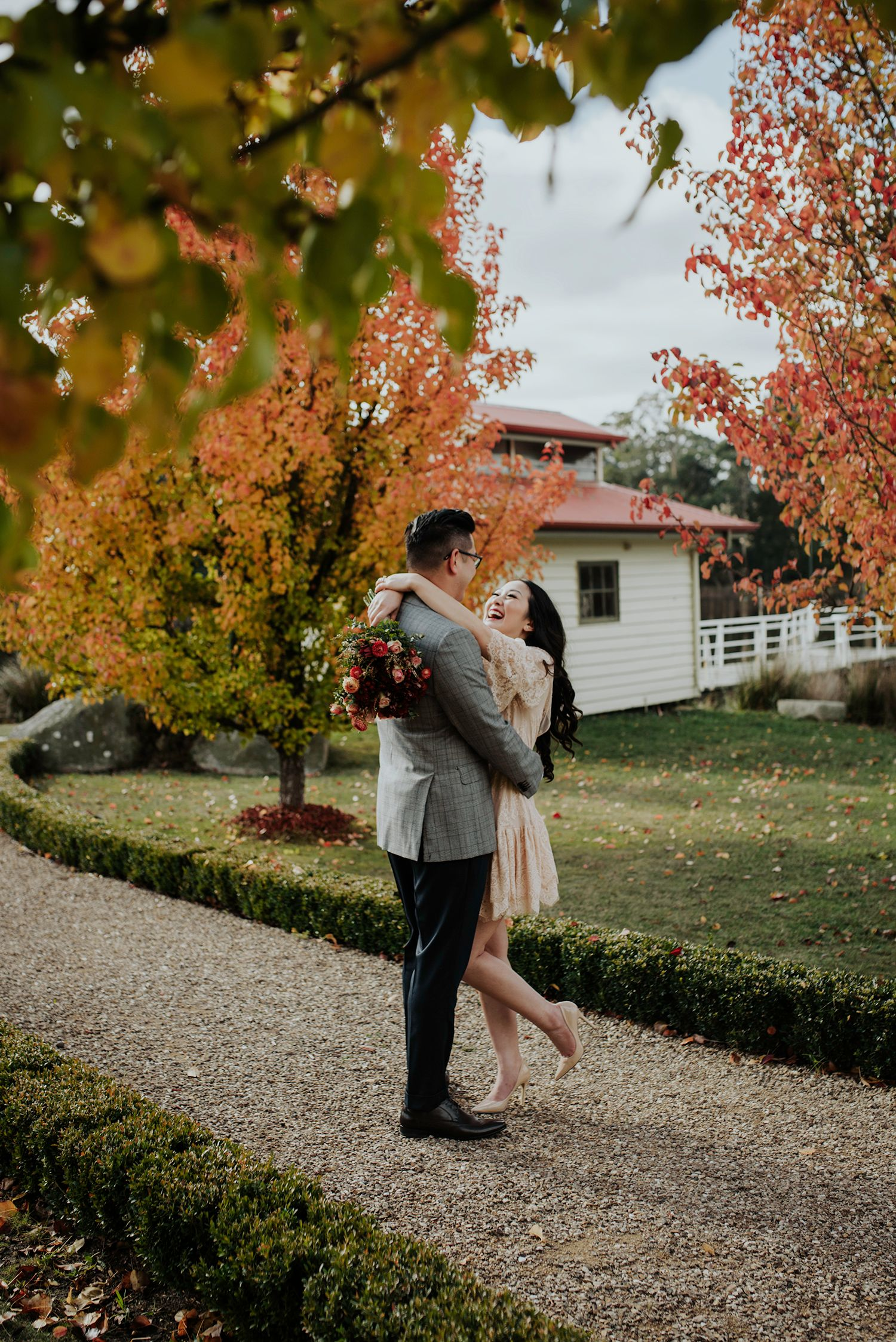Candid relaxed wedding prewedding engagement photography couple in autumn Melbourne