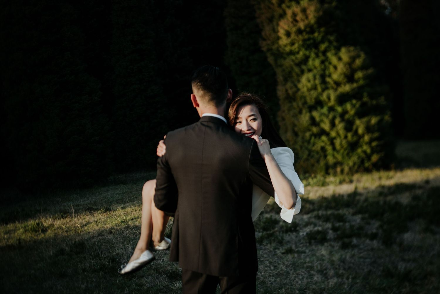 Candid relaxed international wedding prewedding engagement photography Hong Kong couple in Melbourne Autumn