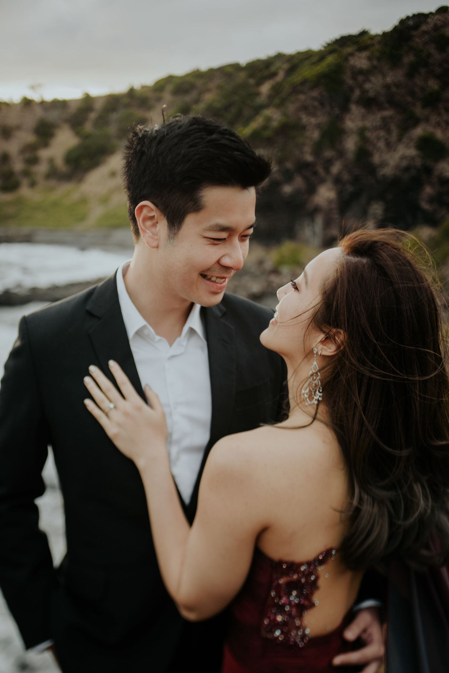 Candid relaxed wedding prewedding engagement photography Malaysian couple in Sorrento Melbourne