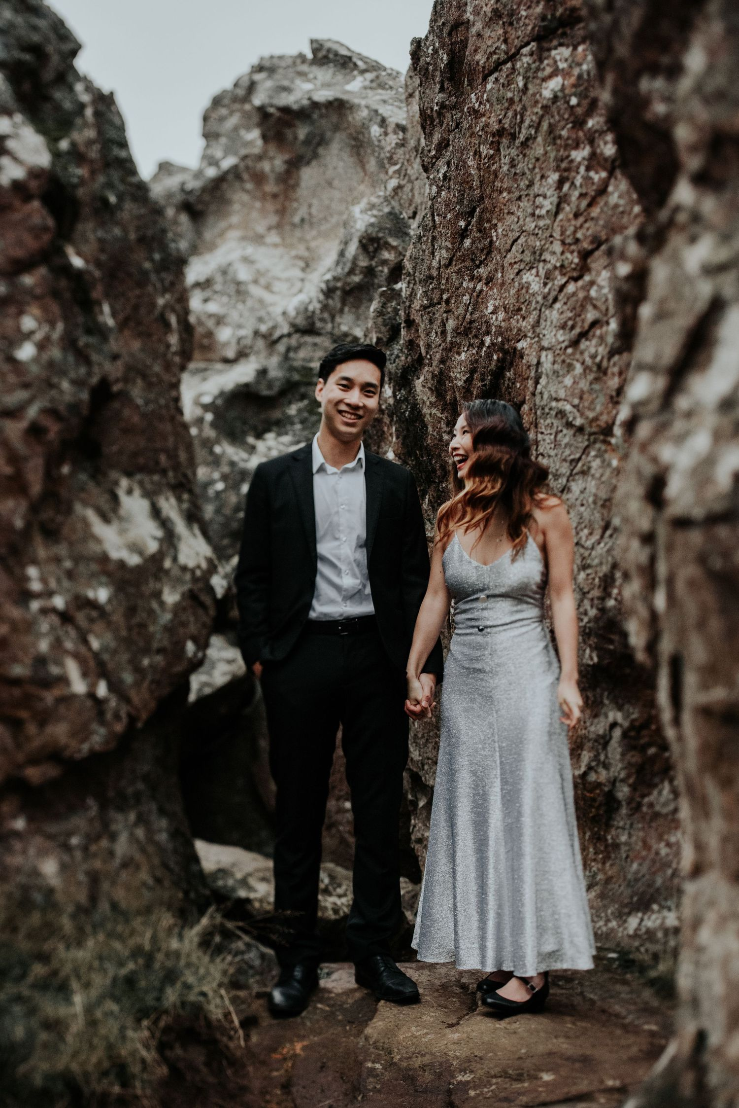 Candid relaxed wedding prewedding engagement couple photography at Hanging Rock Melbourne