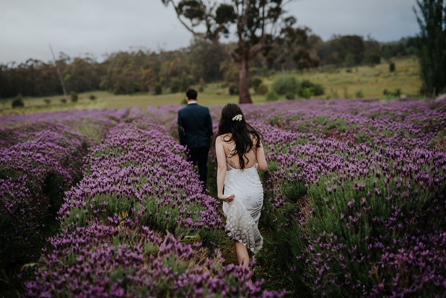 Candid relaxed wedding prewedding engagement couple photography at Daylesford lavender fields Melbourne