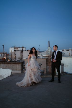 Bride and groom on a rooftop in Belgrade