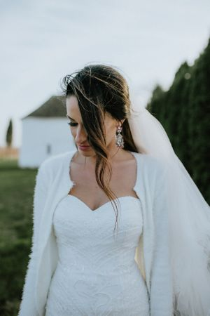 Bride with a heart shaped wedding dress