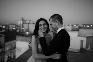 Rooftop black and white wedding photography