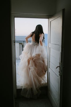 Paris rooftop wedding and bride in Watters wedding gown