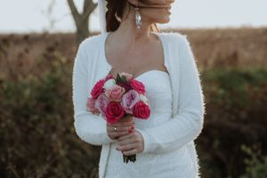 Winter wedding dress and a white sweater