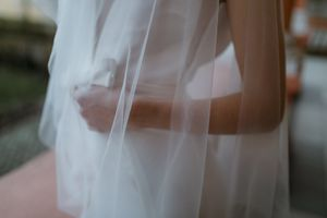 Wedding dress details and veil