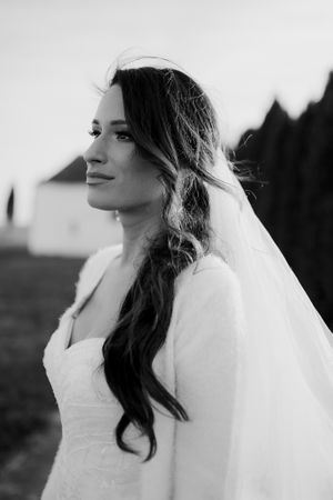 Black and white portrait of a bride