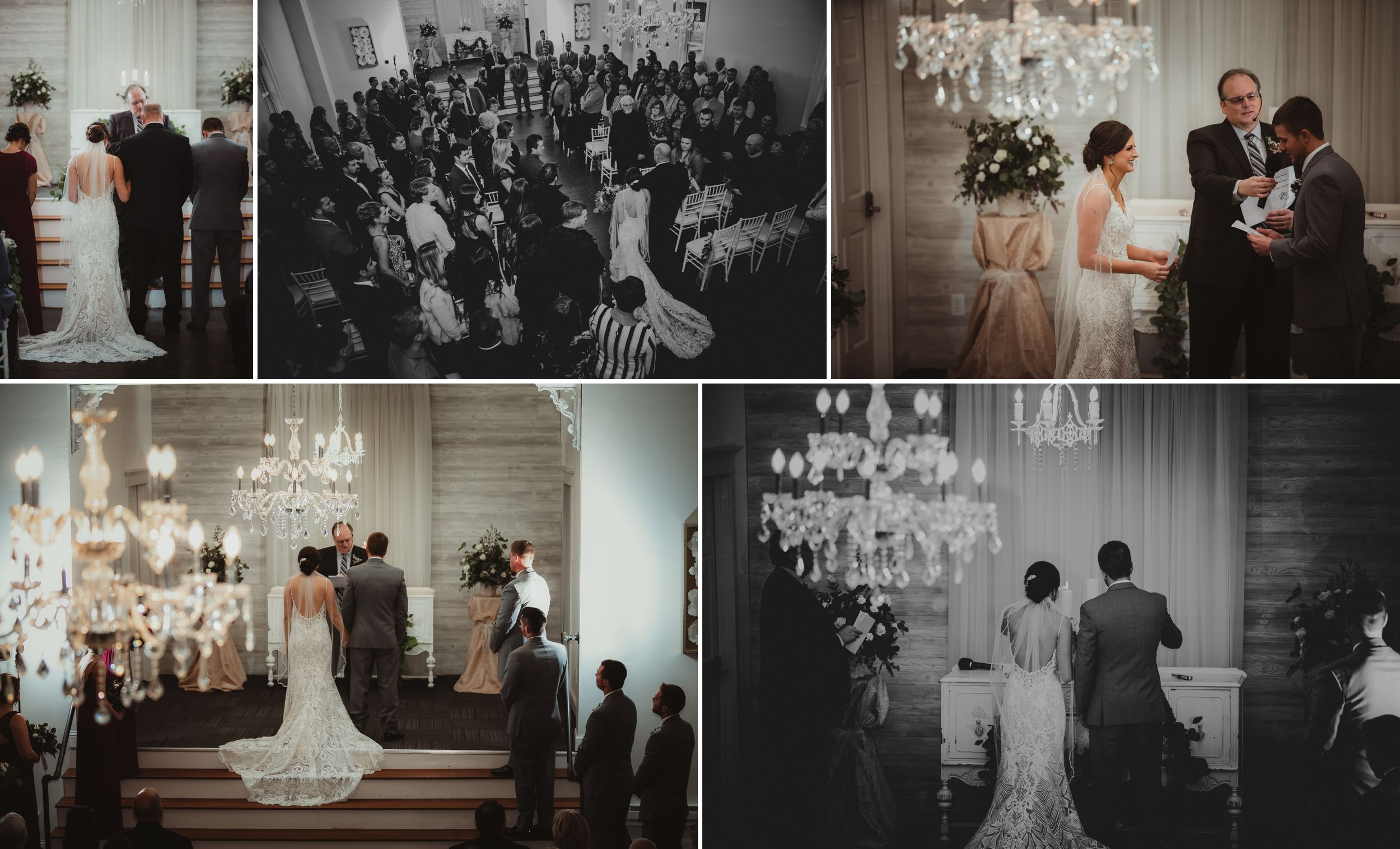 Collage of various images of the ceremony. The bride and groom stand on a stage and the room is full of chandeliers.