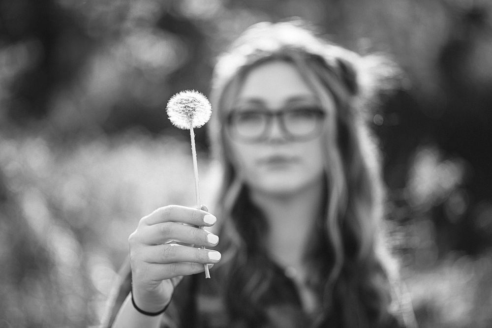 Fashion Portrait of girl senior photos with dandelion