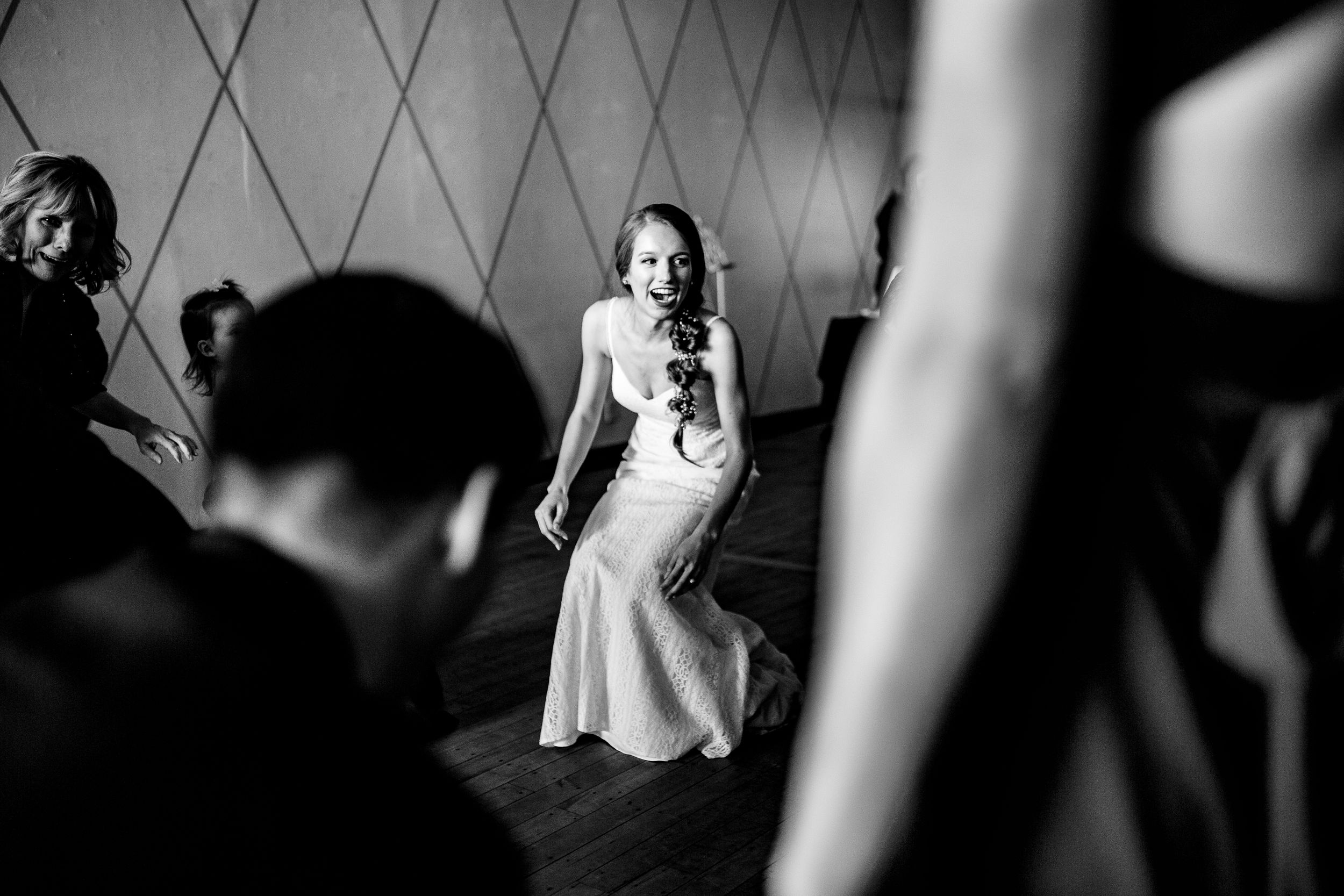A bride dances with her guests at the Vintage Ballroom in Omaha Nebraska