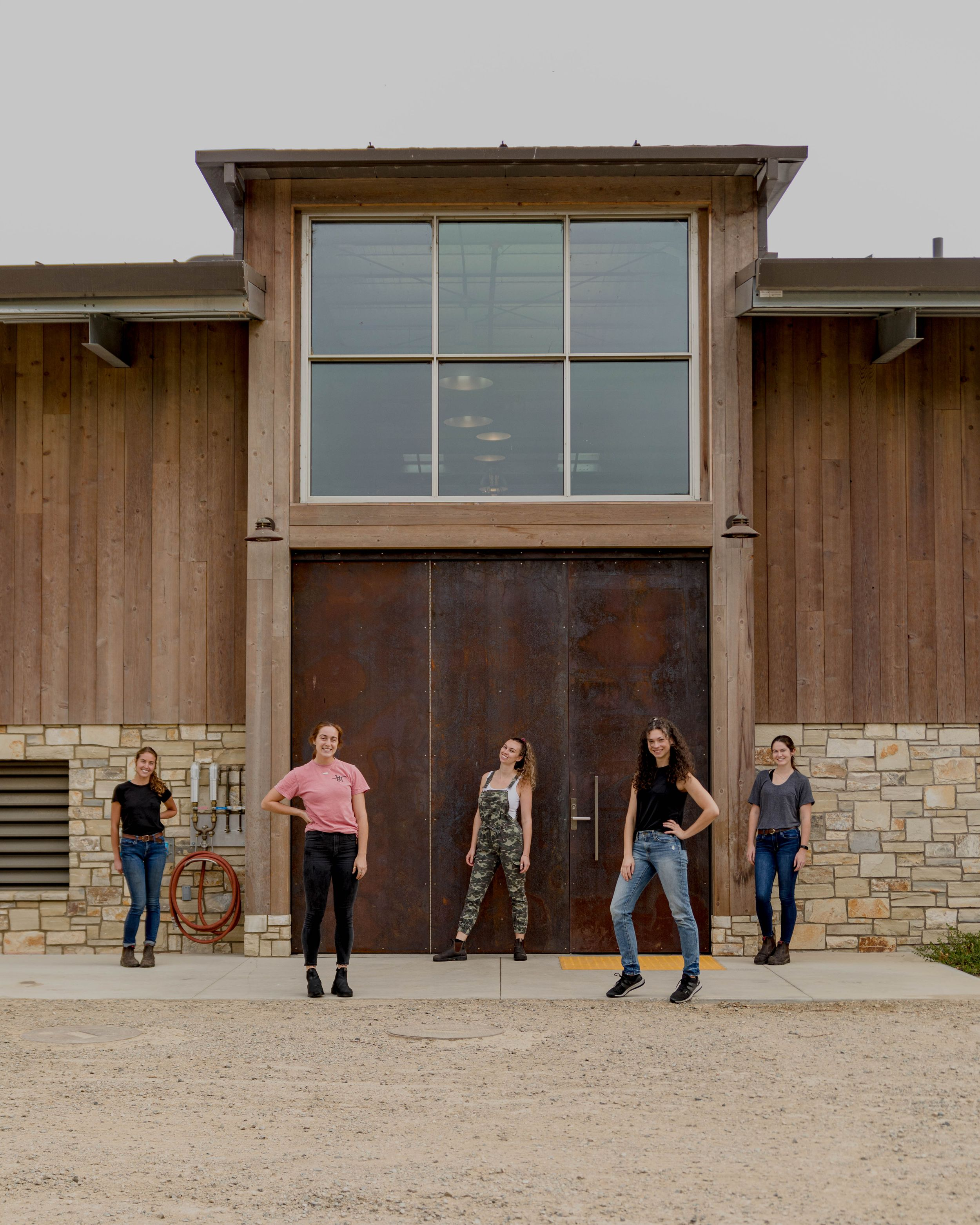 All women winemaking team for 2020 harvest at Peake Ranch Winery Peake Ranch Wines by wine photographer Heather Daenitz