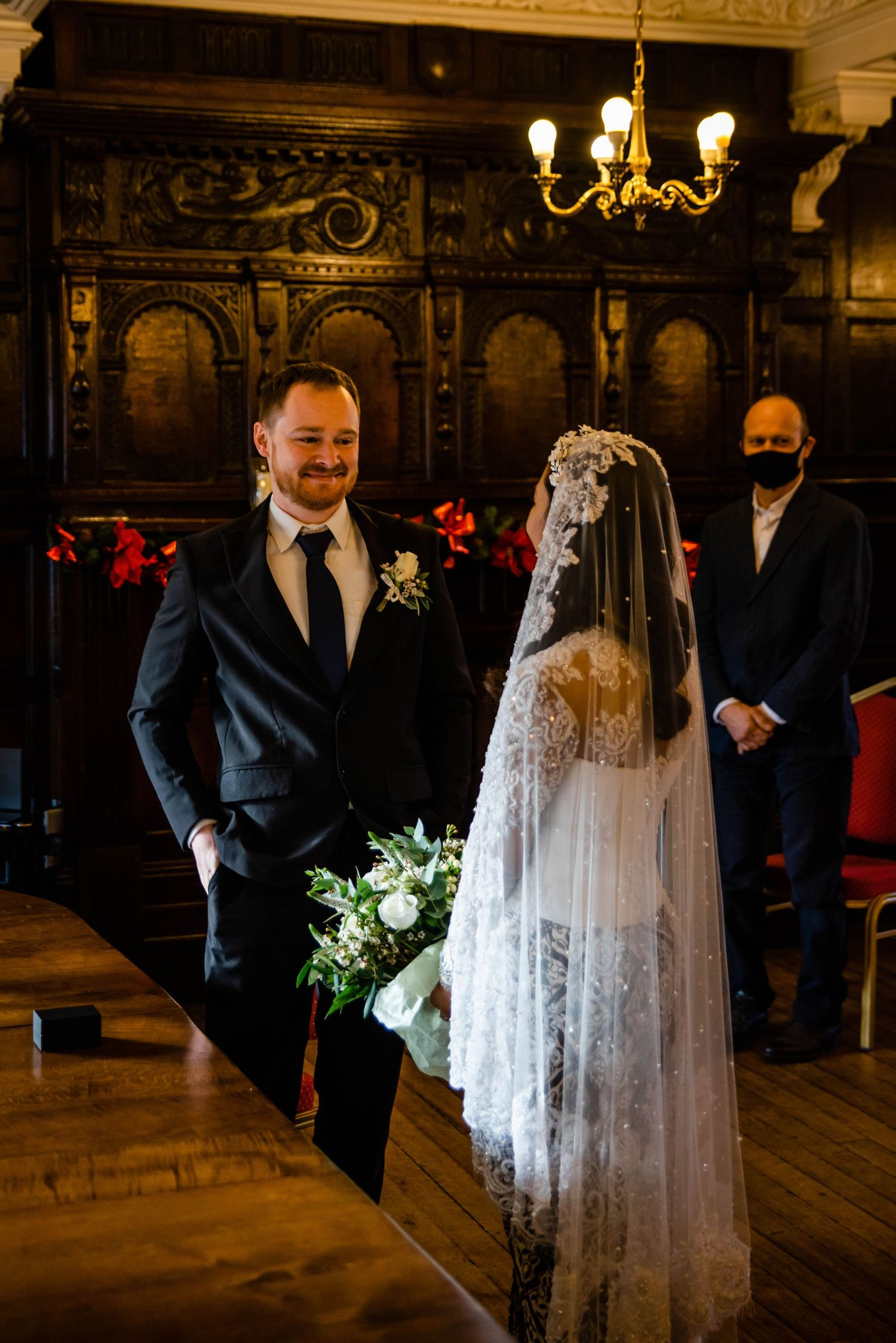 Zara Davis Wedding Photography at Hereford Town Hall  in Herefordshire groom first look