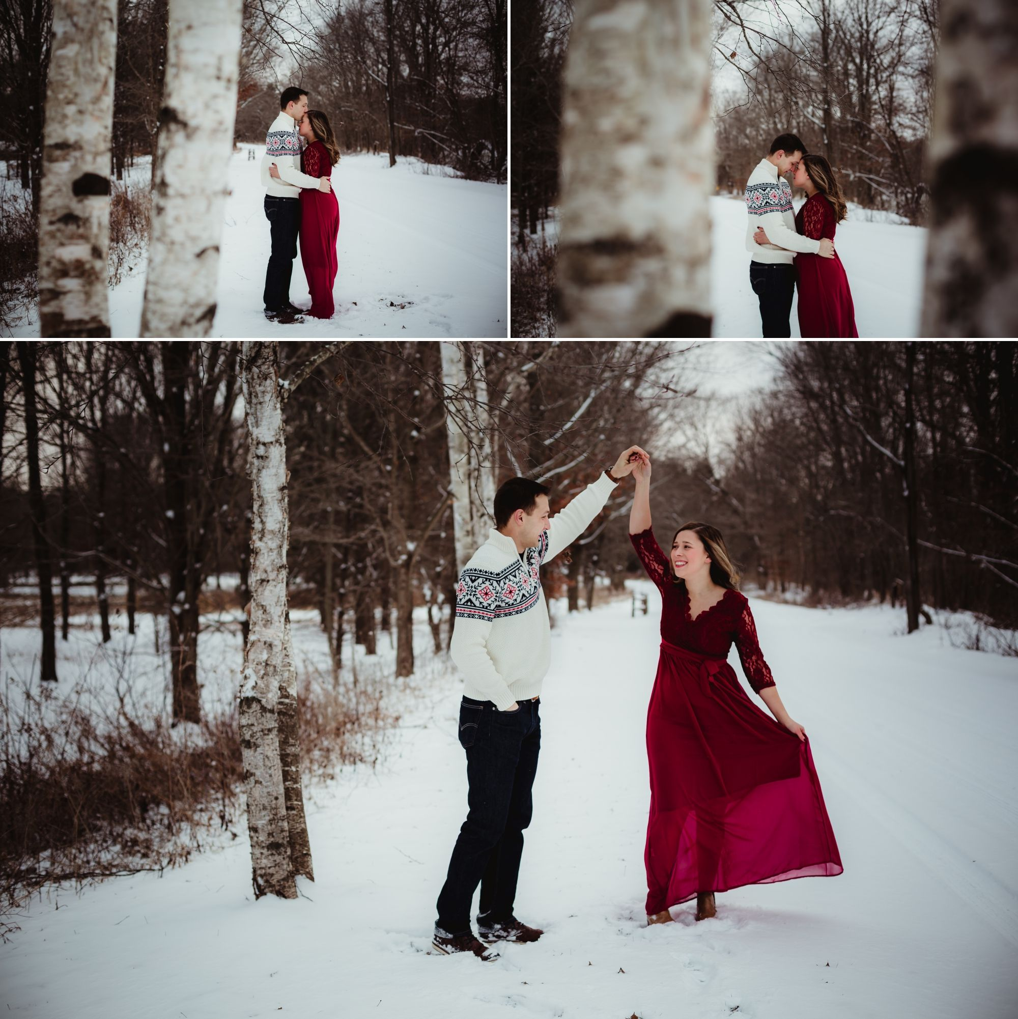 A collage of an engaged couple embracing and dancing near birch trees in the winter.