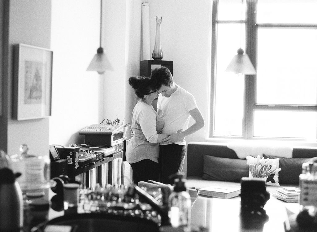 Washington D.C. wedding engagement photographer Aaron Snow Photography engaged couple home dancing black and white