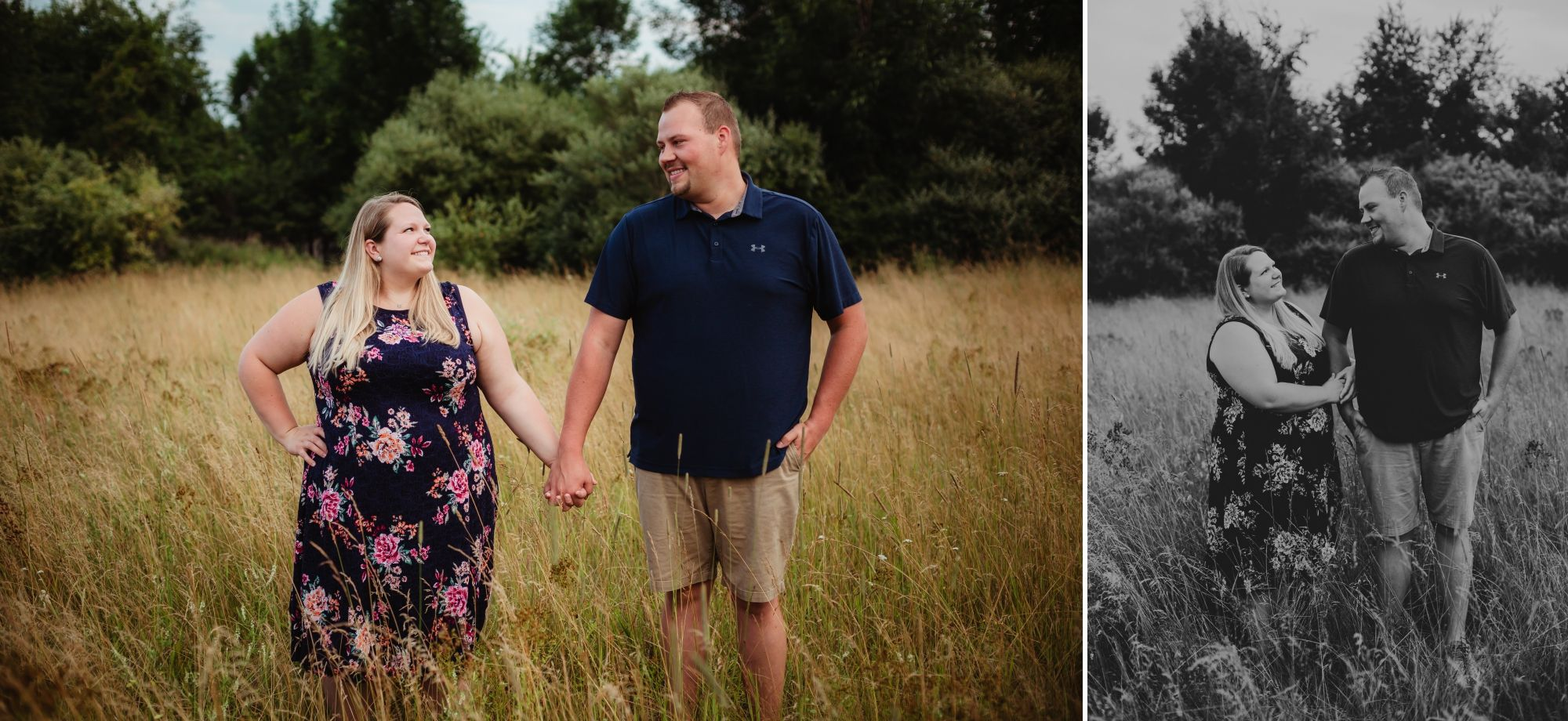 Photos of an engaged couple smiling at each other in a field. She wears a dark dress with pink floral.