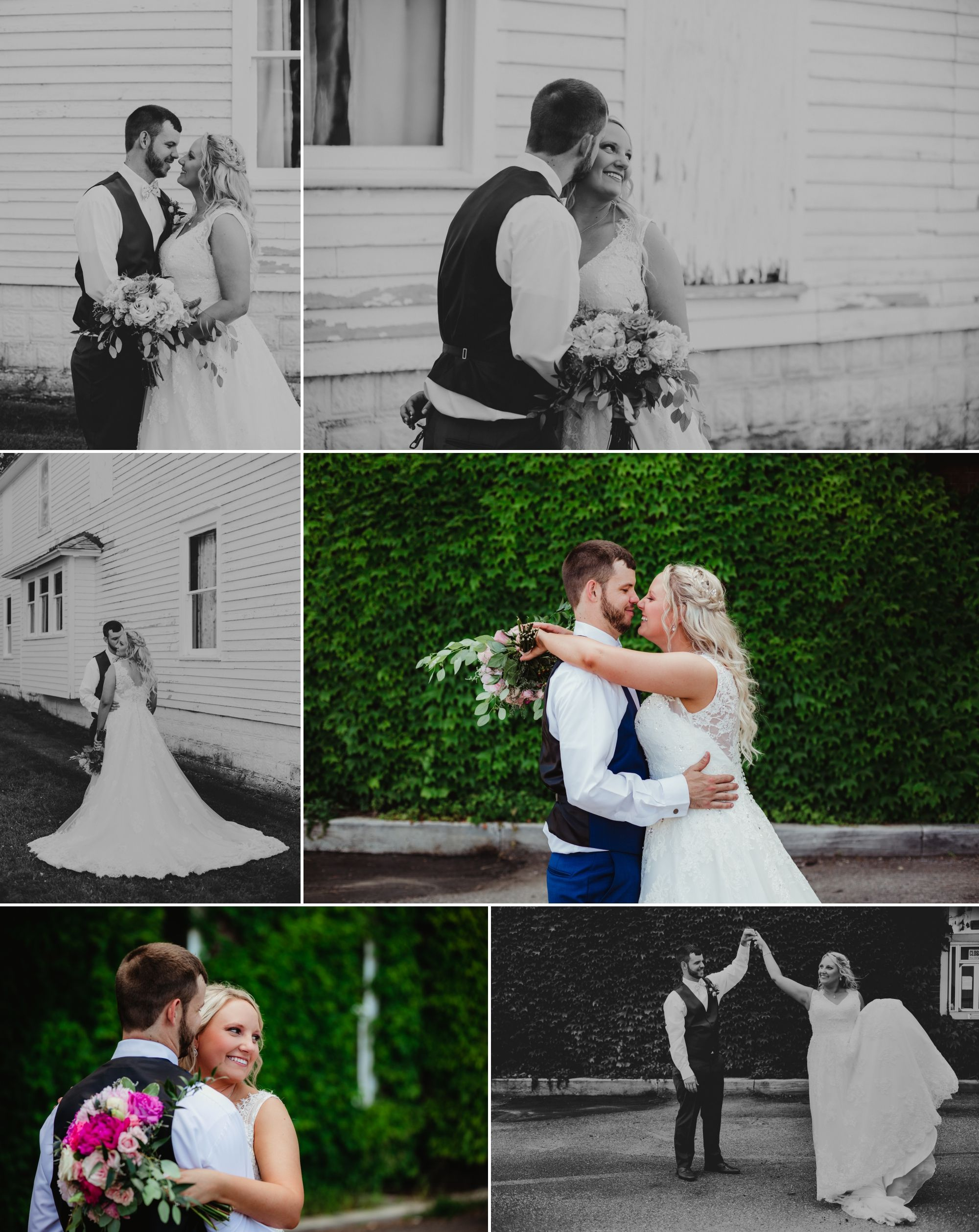 Collage of the bride and groom in front of white building and ivy. They smile, embrace, and dance.