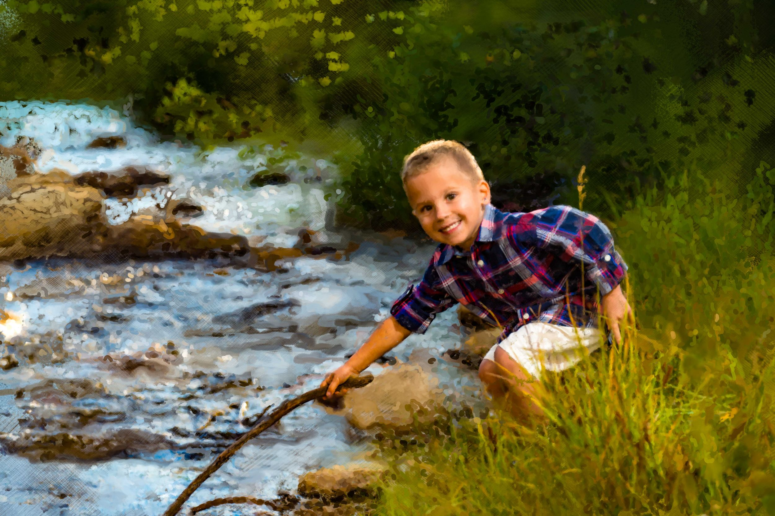 Painterly portrait of a little boy with a stick in the river