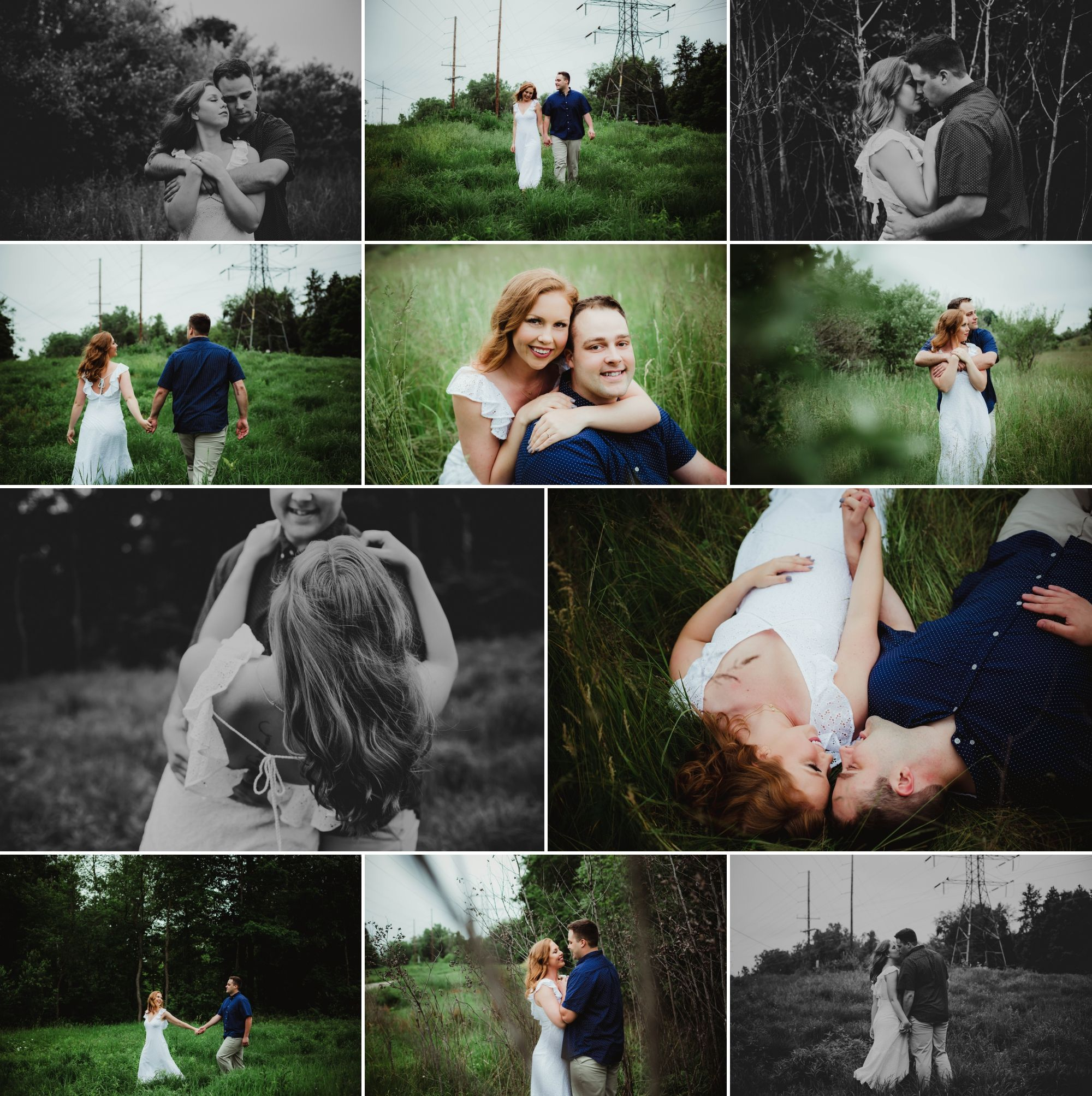 A collage of an engaged couple in a park and a field. She has a white dress and red hair, he has a blue shirt & khakis.