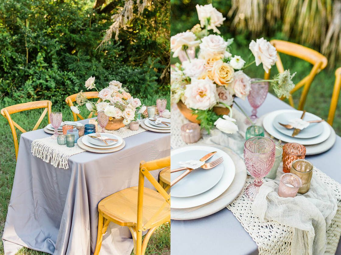 table scape details from a styled shoot on tybee island, ga