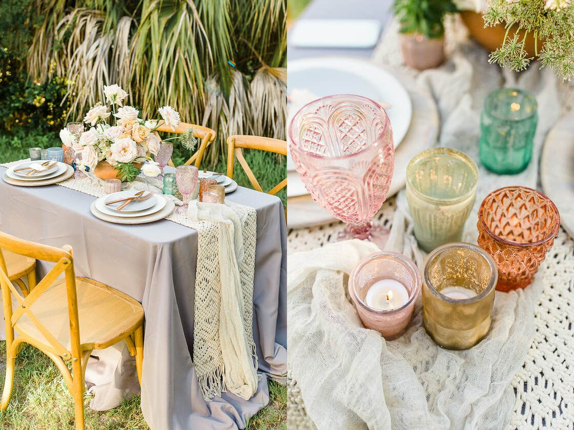 table details for boho styled shoot with ivory & beau on tybee island, ga