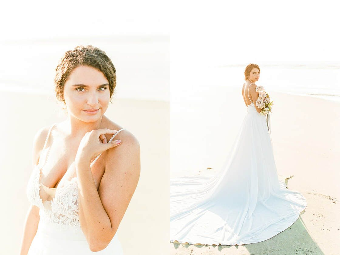 lovely sunrise bridal session on tybee island with ivory & beau