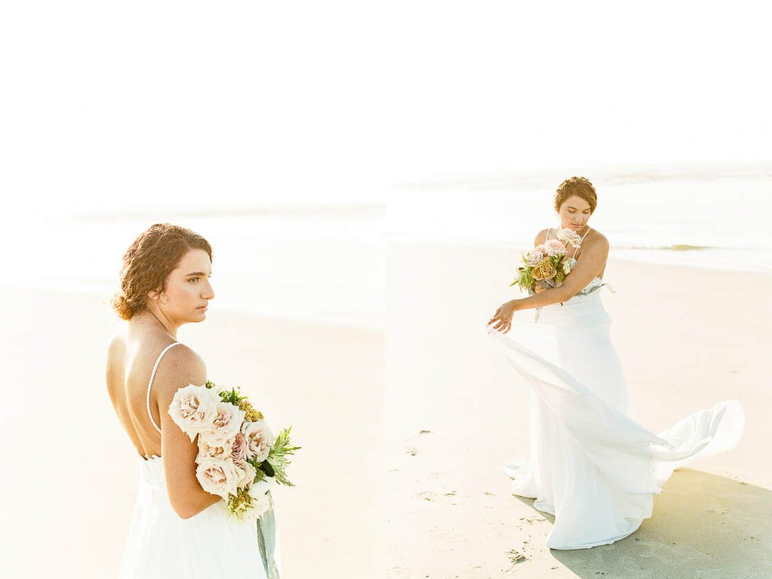 bridal portraits for boho styled shoot with ivory & beau on tybee island, ga
