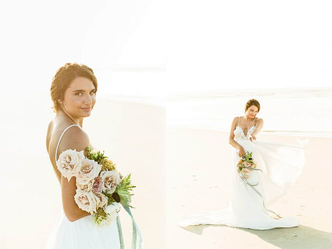lovely bridal styled bridal session on tybee island, ga with ivory and beau